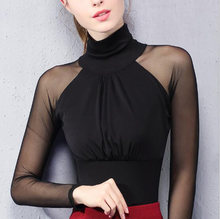 Women Lace Mesh Top Polo Shirt Sexy See Through Turtleneck Long Sleeve Office Ladies Elastic Slim Tops Blusas(China)
