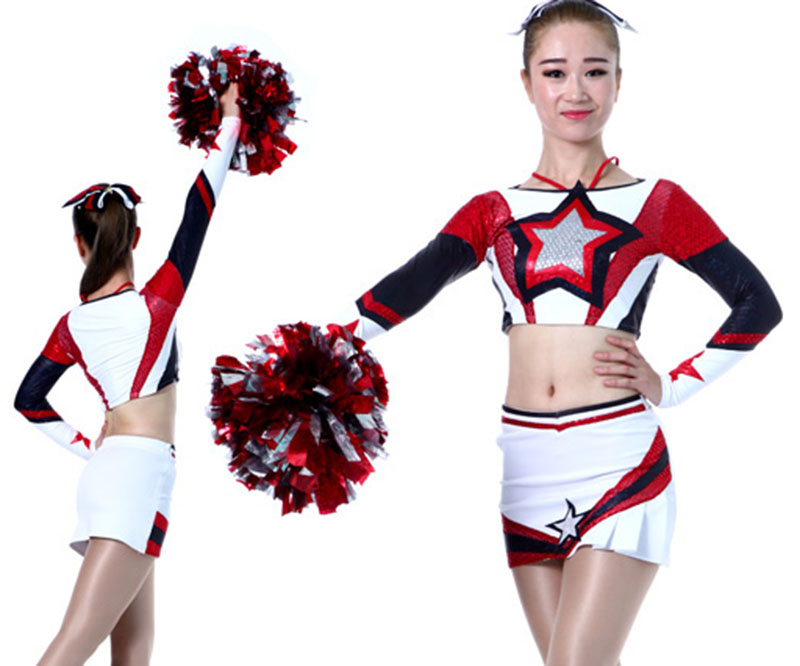 Professional Performance Outfit Lycra Cheerleader Uniforms Adult/Kids Sport Outfit 2017 Styles Free Bows