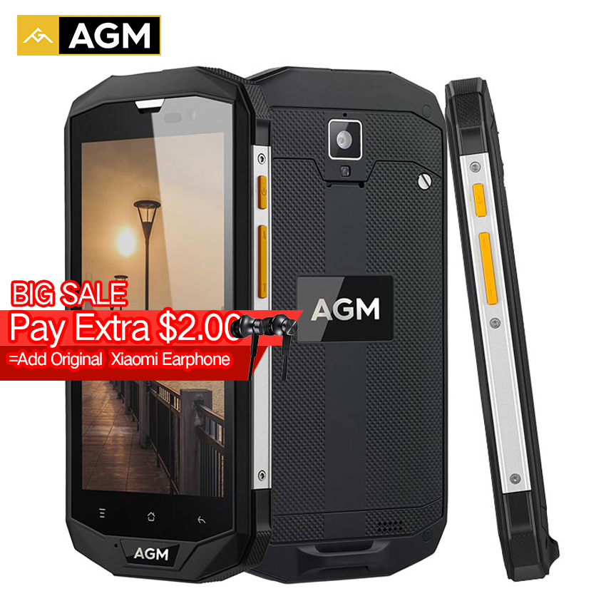 """bilder für Neue AGM A8 SE IP68 Wasserdichte handy 5,0 """"Android 7.0 4050 mAh 2 GB + 16 GB Qualcomm MSM8916 Quad Core OTG NFC 4G smartphone"""