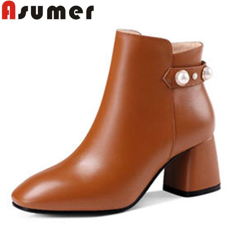 ASUMER offre spéciale 2018 talons étranges bottes en cuir véritable zip solide simple bottes d'hiver bout carré adulte bottines pour femmes