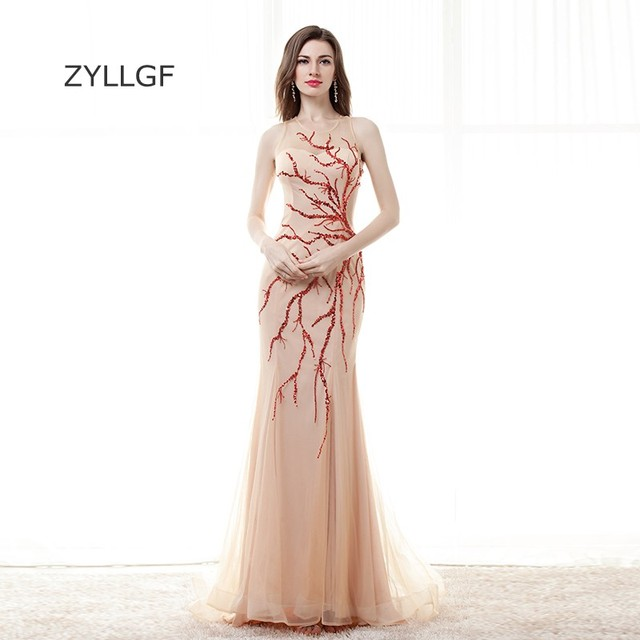 ZYLLGF Sequins Beaded Mother Dresses Sexy Sheer Back Mermaid Sleeveless  Western Wedding Party Gown Q145 247151359549