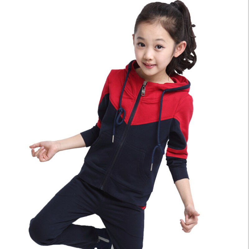 New Fashion Children Boy Girl Clothing Kids 2 pcs Sets 2017 Spring Autumn Clothes Tracksuits Sports Suits Red Black Blue Style 2014 spring autumn new fashion girls sports suits zipper coat trousers flowers print big girl clothes sets children sportswear