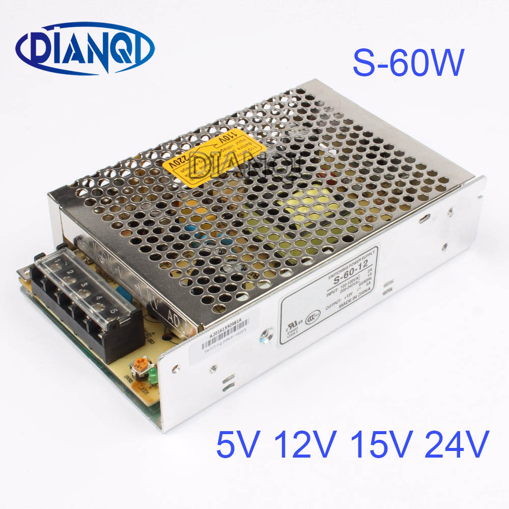 S-60-12 power suply 60w 12V 5A ac to dc 5V 24V 15Vpower supply unit ac dc converter switch adjustable output voltage 1pcs 60w 12v 5a power supply ac to dc power suply 12v 60w power supply 100 240vac 111 78 36mm