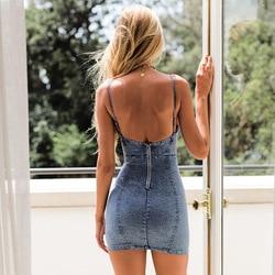 Dżinsy Sukienka Denim Sukienka Ropa Mujer szata seksowna Mini Backless Vestido kobiety letnia Sukienka Sukienka Rockabilly 2019 Roupas Feminina 5