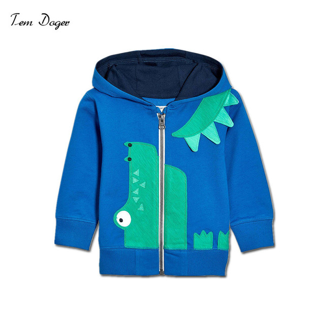 Tem Doger Children Boy Spring Autumn Clothing Sweatshirts Long Sleeve Zipper Cartoon Crocodile Hoodies Coat Kids Toddler Outfits
