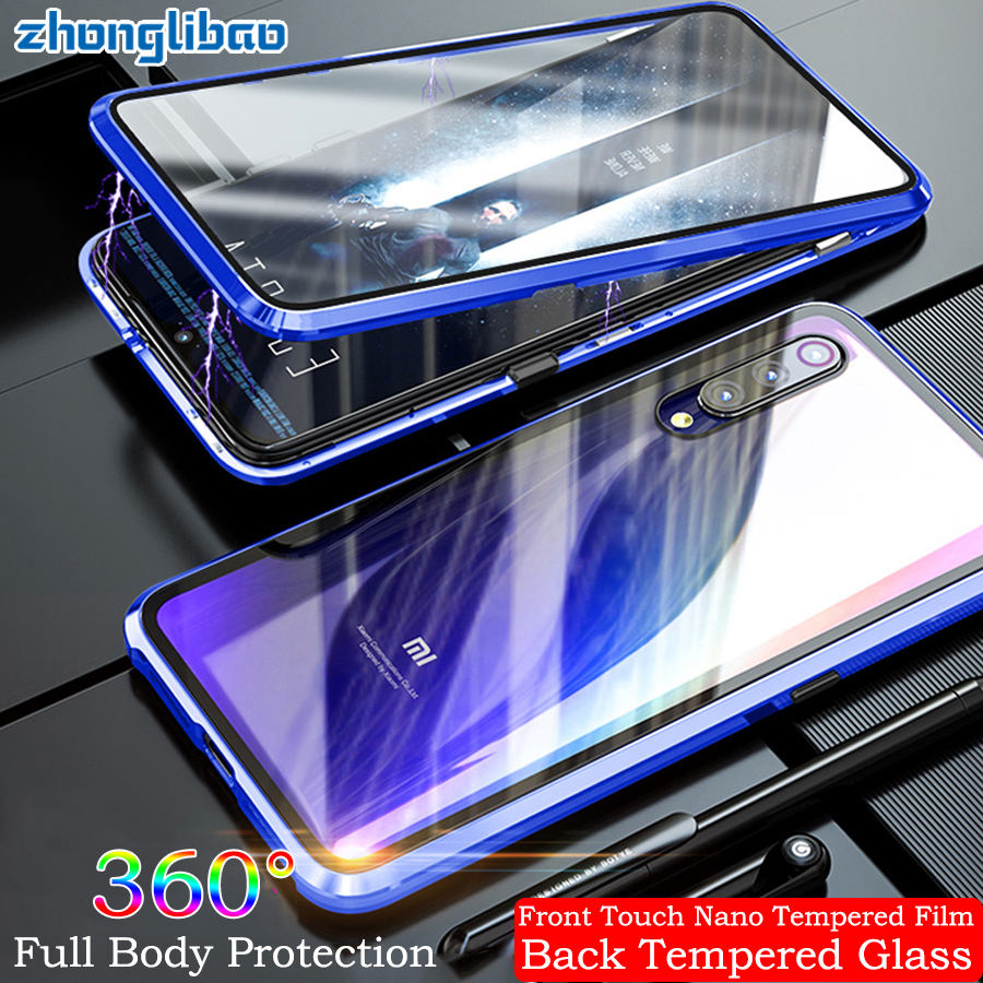 Magnetic Adsorption Metal Case for <font><b>Xiaomi</b></font> Mi 9 <font><b>Mi9</b></font> Transparent M9 Luxury 360 Full Cover Front Back Glass Double Screen Protector image