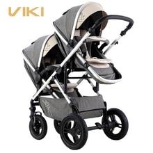 Многофункциональная детская коляска VIKI для близнецов, двусторонняя двойная коляска, коляска для 2 детей, двунаправленная двойная коляска