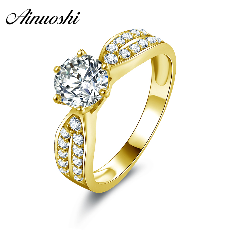 AINUOSHI 10k Solid Yellow Gold Wedding Ring 1 Carat Round Cut Anelli Donna Promise Simulated Diamond Jewelry Women Wedding Rings ainuoshi 10k solid yellow gold wedding ring 1 25 ct solitaire simulated diamond anelli donna brilliant proposal rings for women