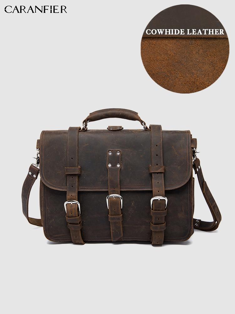 CARANFIER Mens Briefcases Bags Vintage Genuine Cowhide Leather Shoulder Messenger Bags Crazy Horse Business Computer Handbags