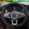Xuji DIY Hand-stitched Black Suede Car Steering Wheel Cover for Volkswagen Golf 7 GTI Golf R MK7 VW Polo GTI Scirocco 2015 2016