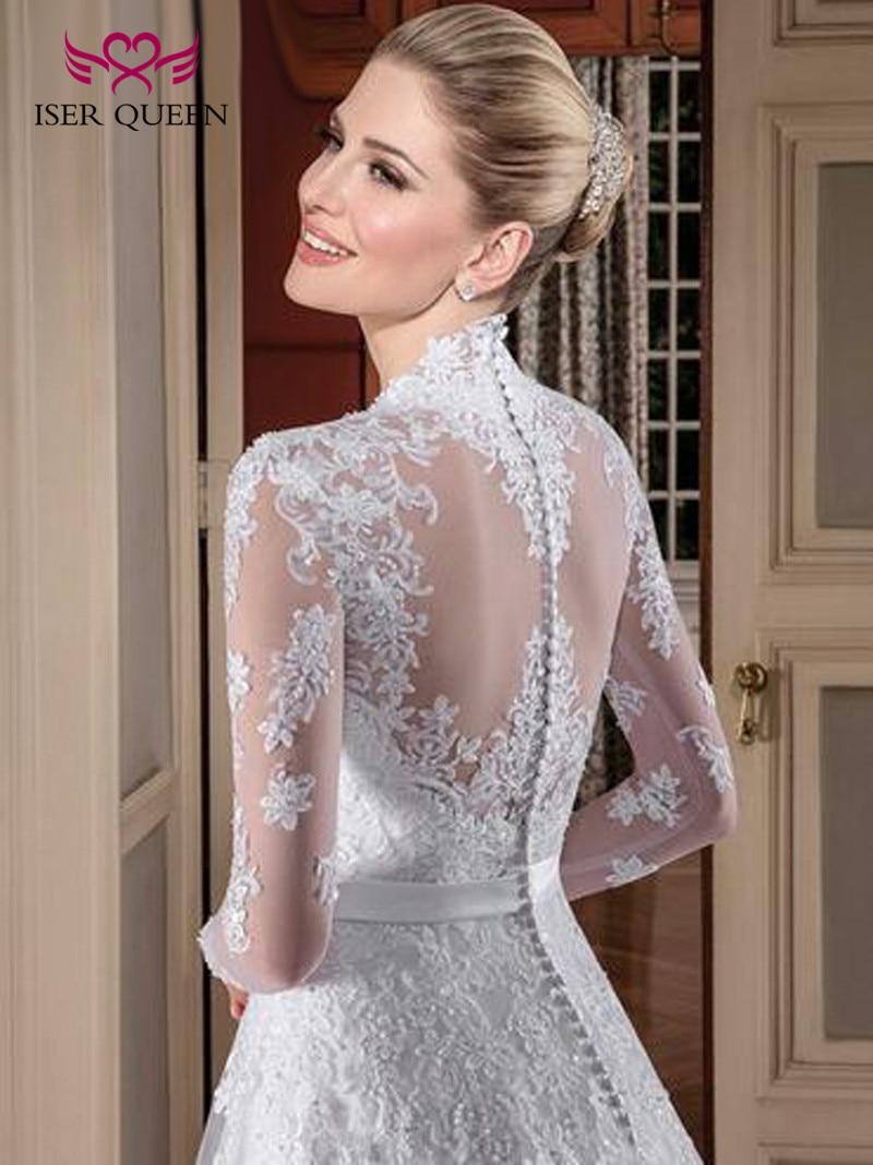 Arab Dubai Long Sleeve Embroidery Wedding Dress White Color Vintage Lace Wedding Dresses  A Line Custom Made Plus Size W0112