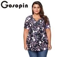 Gosopin Impressão Plus Size Mulheres Casual Tops T Shirt do Verão Curto manga V Pescoço T Shirt Das Senhoras Da Borboleta Floral Impresso Tops 250938