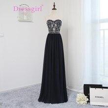 Elegante 2017 Brautkleider A-line Liebsten Marineblau Chiffon Wulstige Kristalle Lange Abendkleid Abendkleider Abendkleid