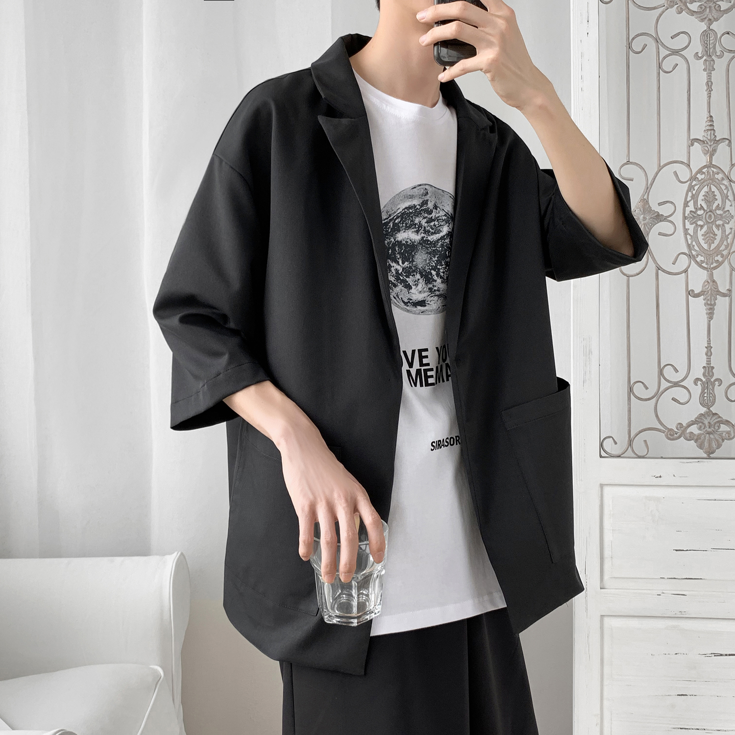 2019 New Korea Style Leisure Designer Fashion Women Men Blazer Homme Jacket Half Sleeve Oversize Casual Suit