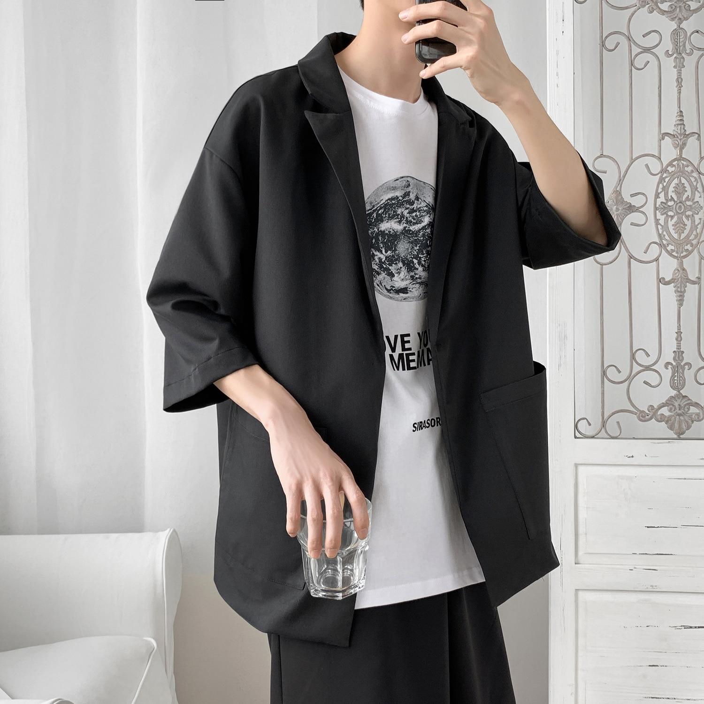 2019 New Korea Style Leisure Designer Fashion Women Men Blazer Homme Jacket Half Sleeve Oversize Casual Suit