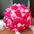 2017 dama de Honor Nupcial de La Boda Bouquet Barato Nuevo Lujo de Cristal Fucsia Hecho A Mano Artificial Rose Flores Ramos de Novia