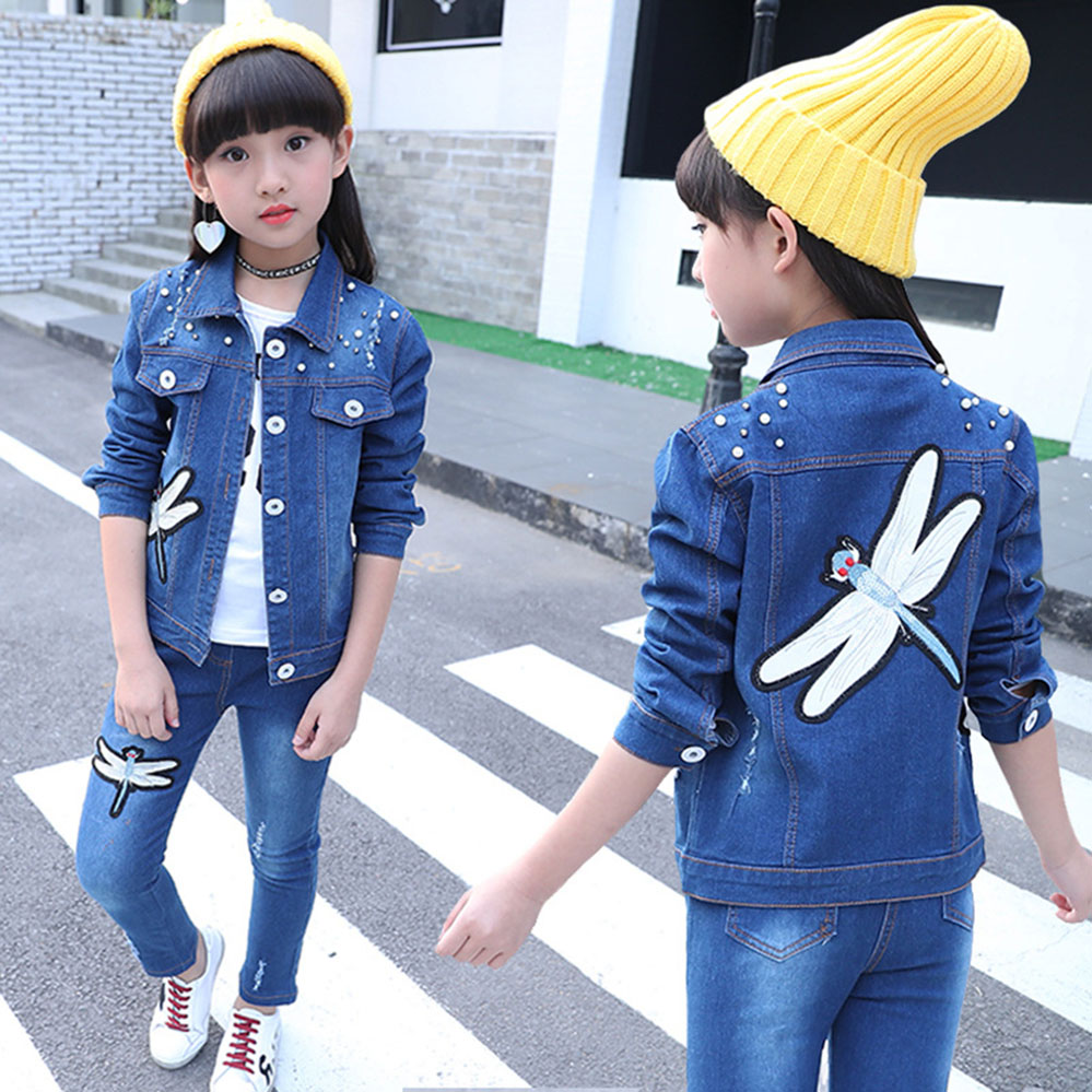 Autumn Denim Children 39 s Clothing Sets Dragonfly Jacket Jeans 2pcs Winter Kids Clothing for Girls Teenage 4 6 7 9 11 14 Years in Clothing Sets from Mother amp Kids