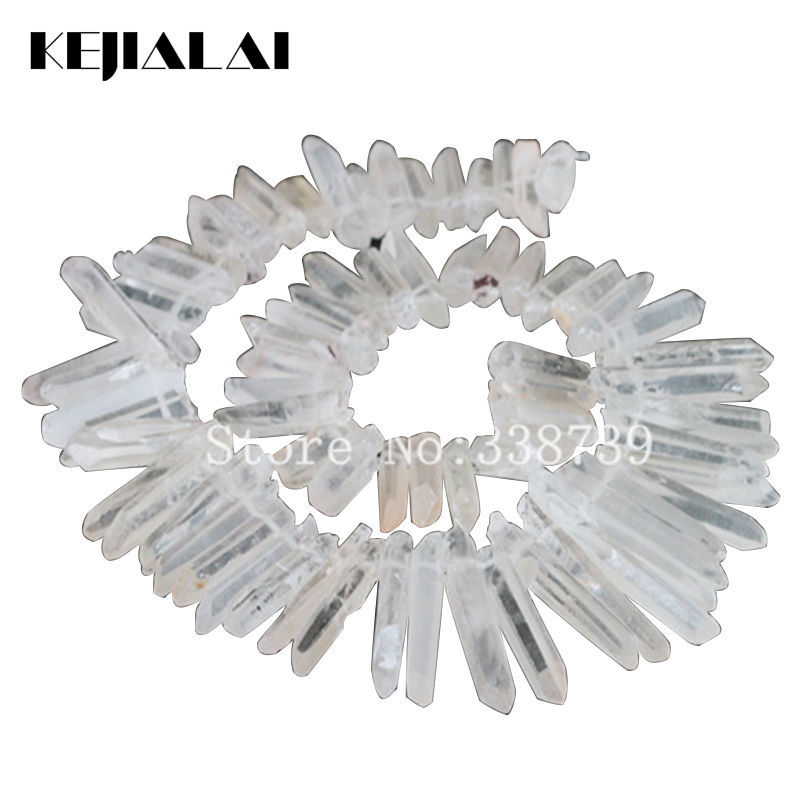 Clear Raw Quartz Long Point Pendants Rock Crystal Quartz Top Drilled Briolettes Stick Beads Natural Druzy Quartz Spike Beads 6pcs natural fluorite quartz crystal wand point healing