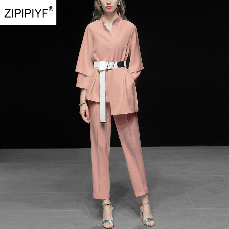 2 Pieces Set Formal Pant Suit with Pocket Women Work Wear Office Lady Stand Collar Irregualr