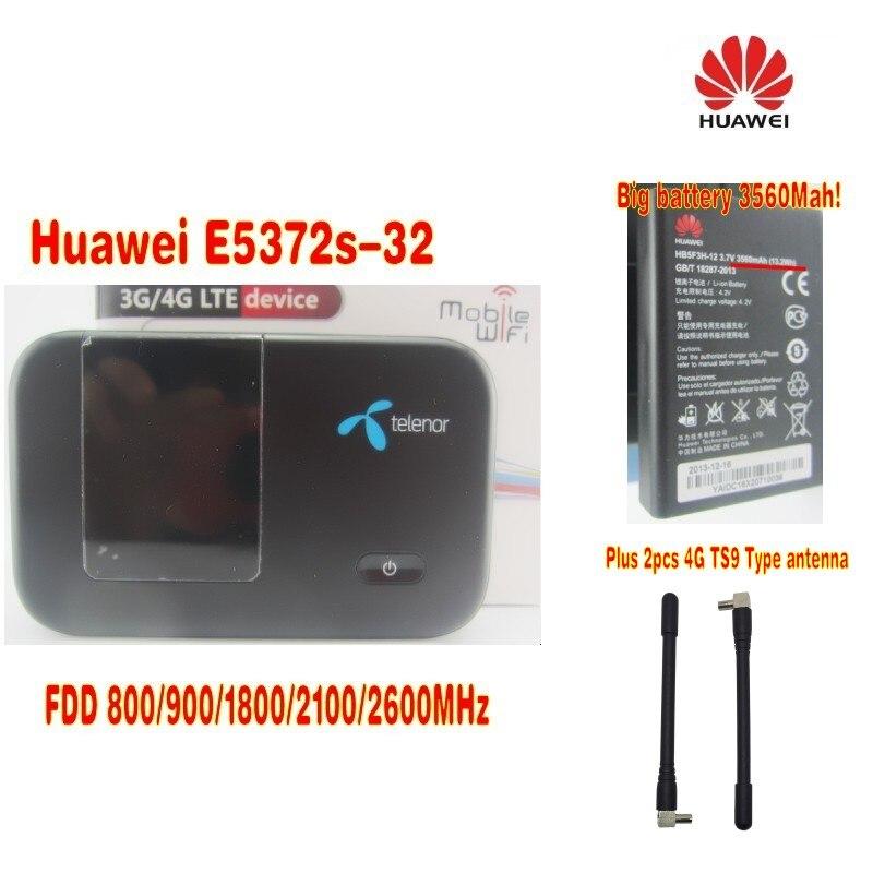цена на unlocked HUAWEI E5372TS-32 BIG battery LTE 4G Wireless Router 150M Plus 2pcs 4g antenna