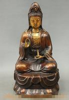 """Ev ve Bahçe'ten Statü ve Heykelleri'de S06666 15 """"Çin Budizm Bronz Yaldız Pray GuanYin Kwan yin Tanrıça Buda Pot Heykeli"""