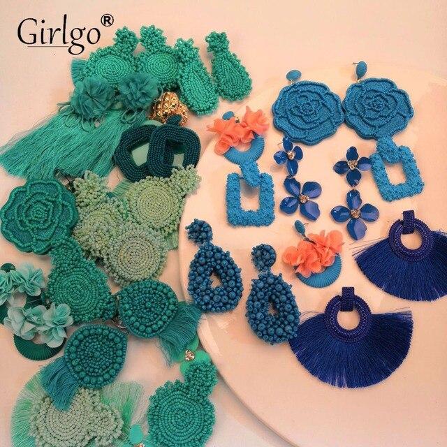 Girlgo специальные висячие серьги ручной работы для женщин ювелирные украшения для свадьбы очаровательные Роскошные Висячие ювелирные изделия вечерние богемные подарки