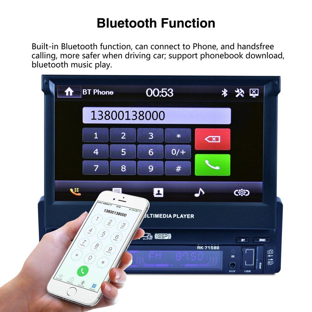 Décodeurs Bluetooth voiture MP3 AUX adaptateur pliable écran tactile HD DVD autoradio télécommande carte SD stéréo bricolage Module haut-parleur