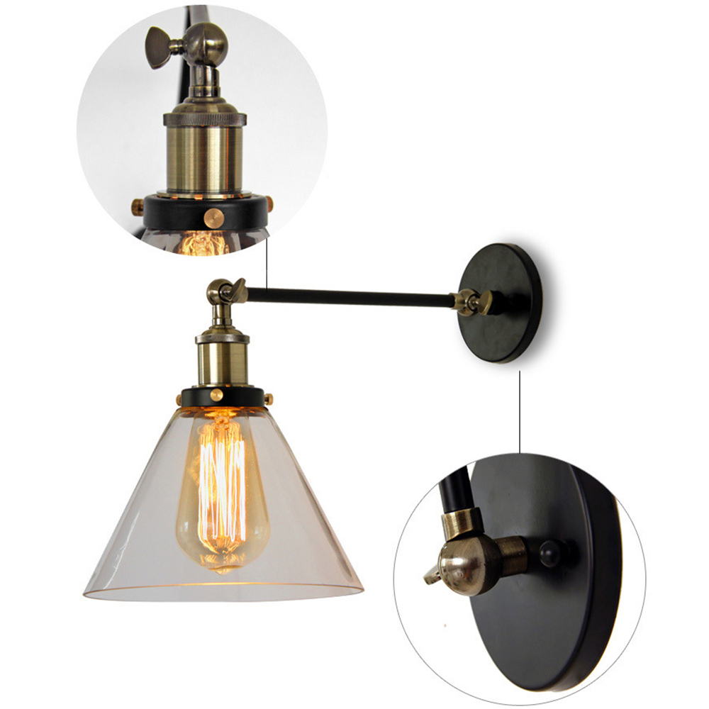 aliexpresscom buy american country loft loft swing arm wall sconce retro warehouse ambient lighting glass lampshade industrial style wall lamp from american country loft style