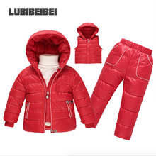 Boys and girls down jacket three suit 2016 winter new thick coat down children's wear baby ski clothing three sets