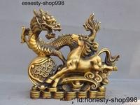 Christmas Chinese Brass Money Coin Ingot Dragon Horse Spirit Statue Wealth Decoration Halloween