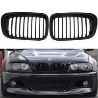 1 Pair ABS Front Replacement Matte Black Kidney Grille Grill For BMW E46 3 Series Sedan 4 Droor Sedan 1998 2001