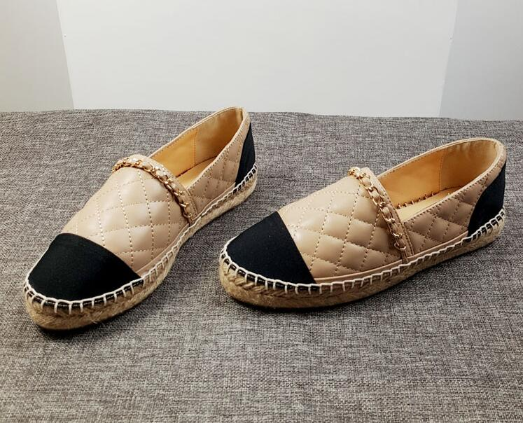 Spring Autumn Comfortable Women Espadrilles Genuine Leather Flats Chain Woman Casual Loafers High Quality Shoes Big Size 34 42 in Women 39 s Flats from Shoes