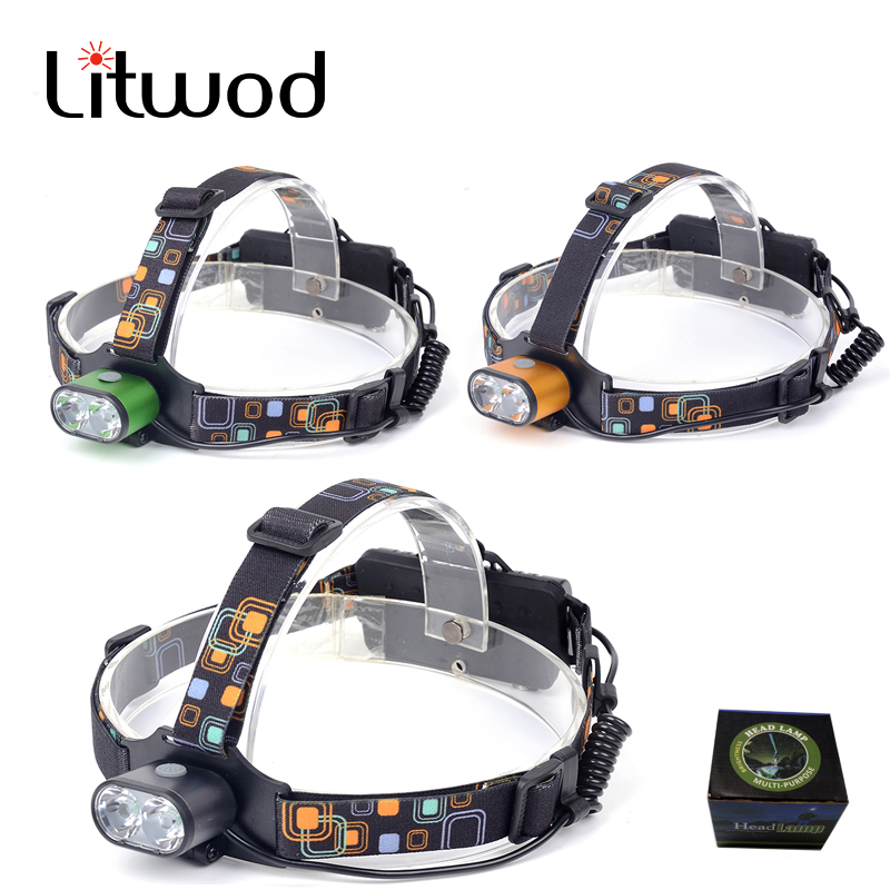 z207314 2*XM-L T6 LED Headlamp rechargeable 18650 battery two T6 LED torch light Waterproof high power Camping Hunting Headlight rechargeable 2000lm tactical cree xm l t6 led flashlight 5 modes 2 18650 battery dc car charger power adapter