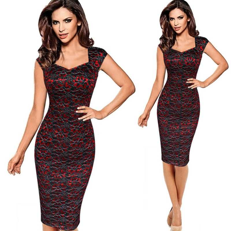 Womens Elegant Vintage Rockabilly Pailletten Bloemen Kant Pinup Vierkante Hals Lady Werk Casual Party Ingericht Bodycon Potlood Jurk Pak