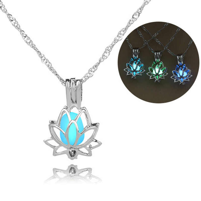 Hot fashion night glow lotus flower necklace pendant accessories essential oils diffuser locket for Oyster Pearl Women