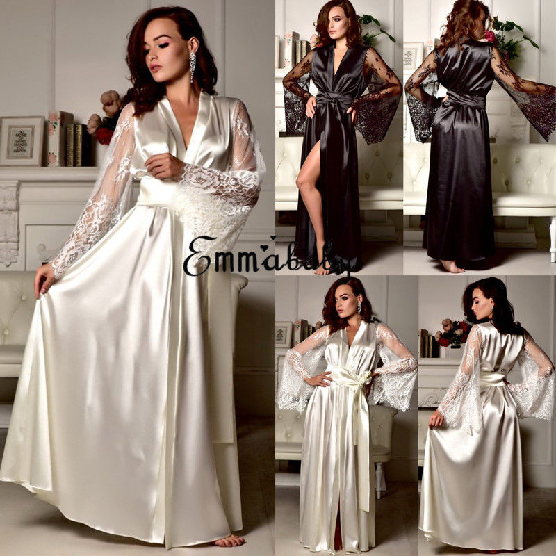 New Lingerie Sleepwear Satin Lace Sexy Women Sissy Long Sleeve Loose Bathrobe Kimono Babydoll Nightwear Robe Deep V Bathrobe