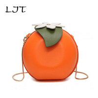 LJT 2017 New Fashion Personality Circular Orange Bag Small Round Mini Chain Shoulder Messenger Bag Girl Cute Crossbody Party Bag