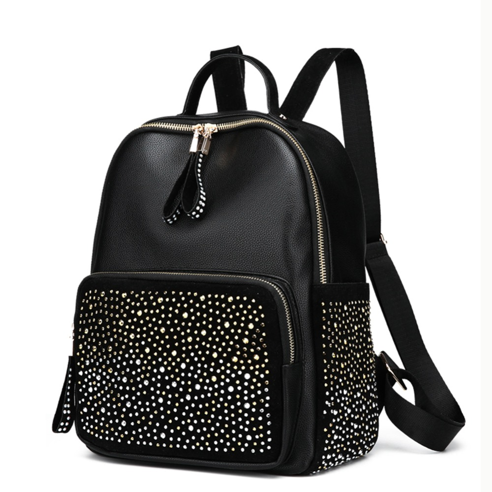 Shining Rhinestones Travel Backpack Shoulder Schoolbag