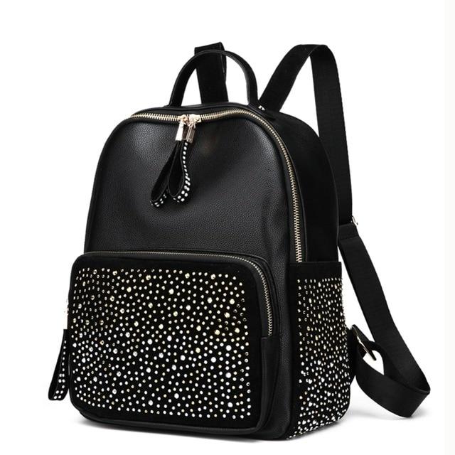 Shining Rhinestones Travel Backpack Shoulder Schoolbag Girl Lady PU Leather Small Bags for Women 2018 Mochila Feminina