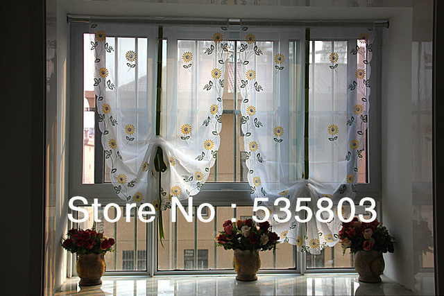 Yellow Daisy Embroidered Fan Shaped Curtain Tie Up Window Sheer Ds Valance Scarf