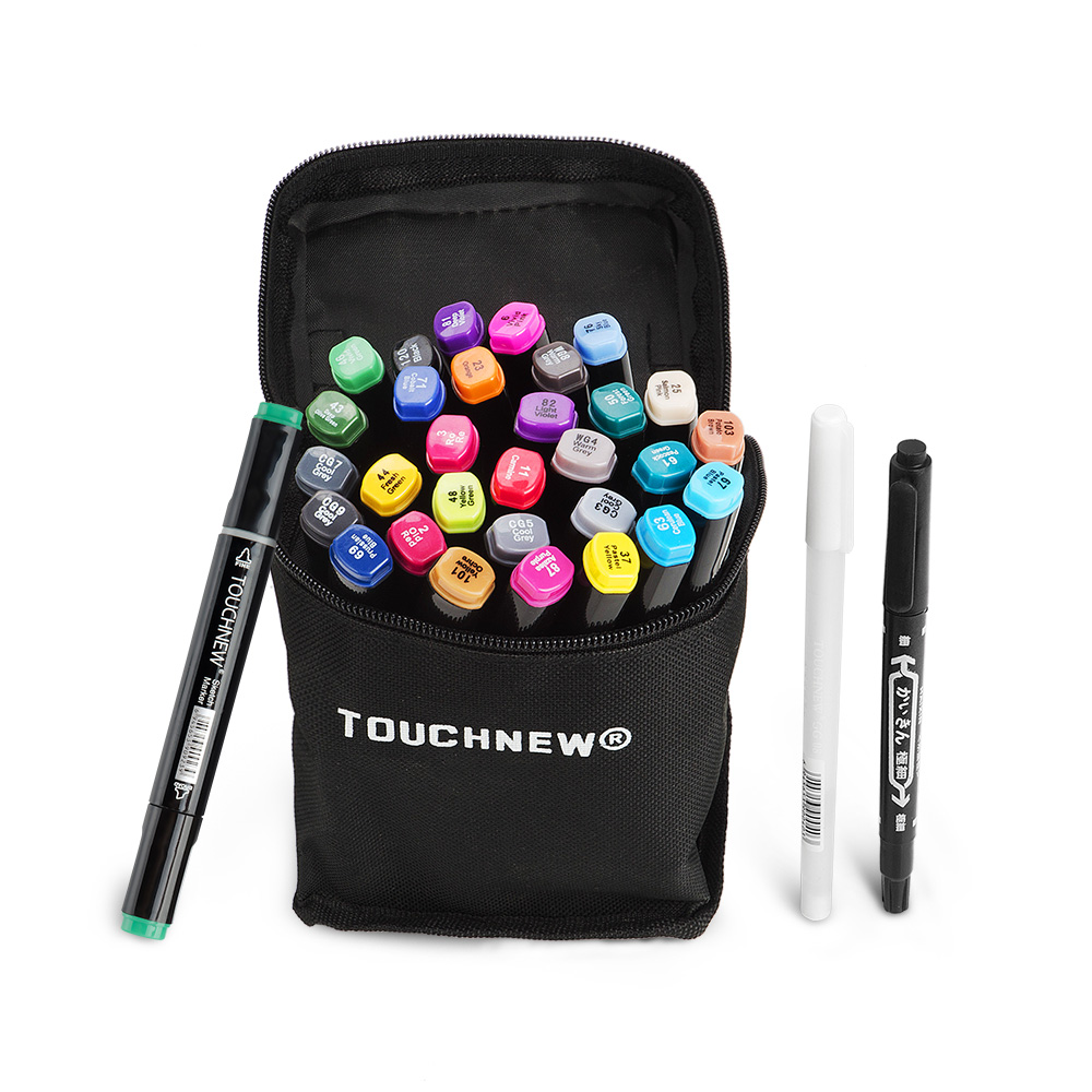 30 Color SET TOUCHNEW Alcohol Graphic Art Twin Tip Pen Marker Broad Fine Point Portable Sketch Dual Headed Marker Pen Set + Gift genuine 20colors stabilo point 88 03 micron liner pen sketch marker set 0 4mm ultra fine micron pen draw liners art supplies