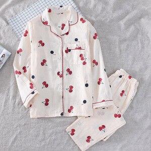 Image 4 - 2019 春の女性のかわいい桜のプリントパジャマ Mujer 100% ガーゼ綿の長袖パンツ薄型パジャマセット薄型ホームウェアパジャマ