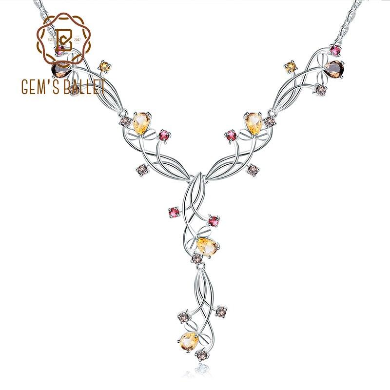 GEM S BALLET Natural Citine Smoky Quartz Garnet Colorful Gemstone 925 Sterling Silver Necklace Wedding Jewelry