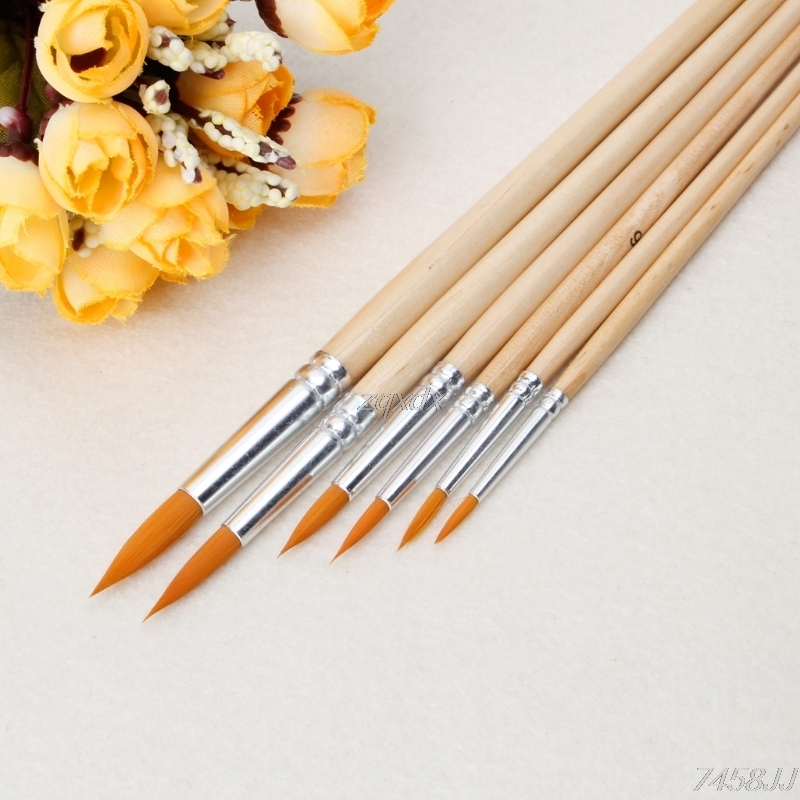 Dynamic 3pcs Wooden Stencil Brush Hog Bristle Brushes Acrylic Watercolor Oil Painting For Child Painter Painting Supplies Paint Brushes