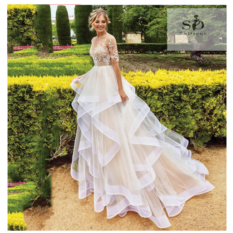 Half Sleeves Champagne Princess Wedding Dress 2019 Boho Illusion A Line Boho bridal gown dress Floor Length Bride Dresses