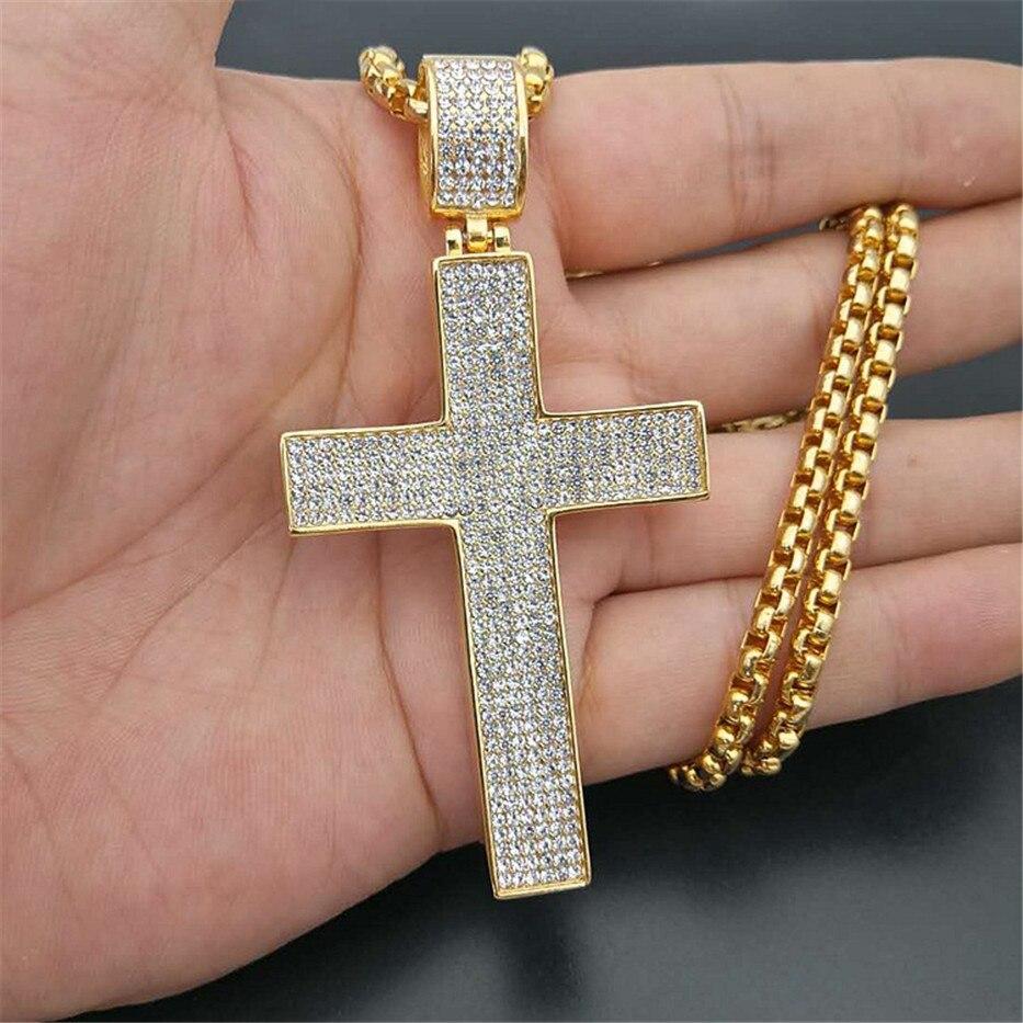 Hip Hop grand croix colliers pendentifs bijoux pour hommes avec chaîne en acier inoxydable couleur or glacé Bling strass collier