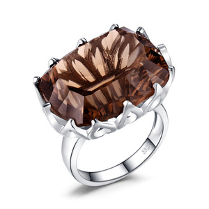Image 3 - JewelPalace 23ct Huge Concave Genuine Smoky Quartz Ring 925 Sterling Silver Rings for Women Silver 925 Jewelry Gemstones Jewelry