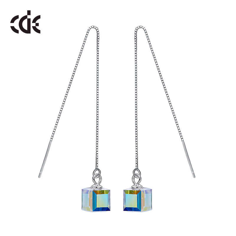 CDE 925 Sterling Silver Earrings Embellished with crystals Geometric Drop Earrings For Women Sterling Jewelry