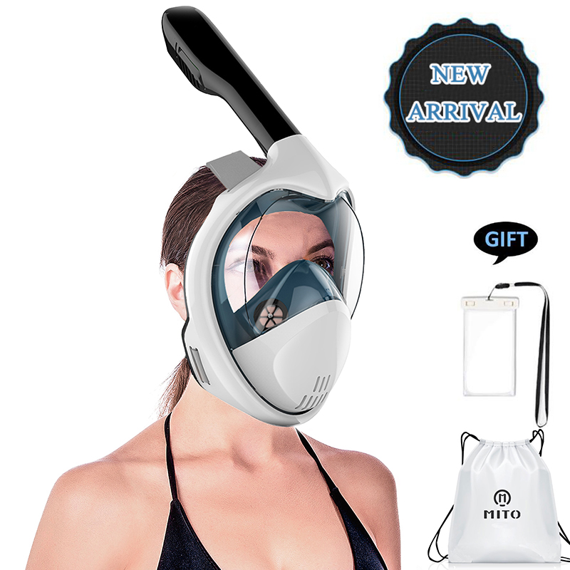 Full Face Snorkeling Masks Panoramic View Anti-fog Anti-Leak Swimming Snorkel Scuba Underwater Diving Mask GoPro Compatible