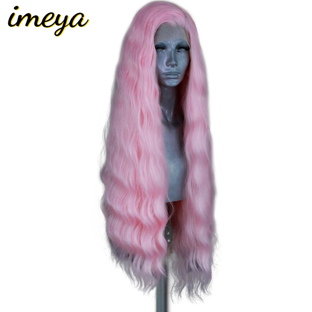 Imeya 150% Density 24 Inch Long Body Wave Wig Heat Resistant Hair Synthetic Lace Front Wigs For Women With Natural Hairline(China)